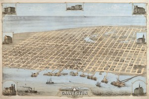 1871 Birds-eye View Map of Galveston