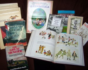 A selection of books from the PTA book sale, including some issues of AH