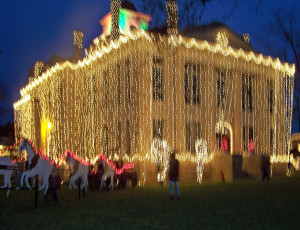 The Blanco Courhouse - all lit up.