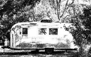 The Airstream trailer that Richard lives in at the Age of Aquarius Campground and Goat Farm