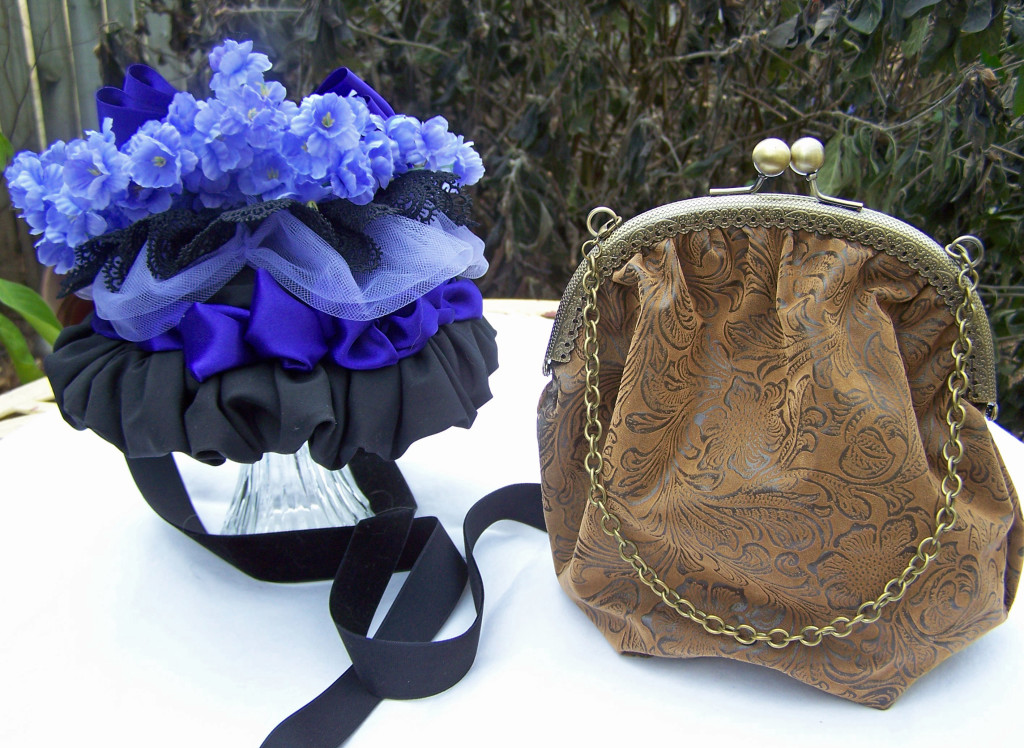 The purple-trimmed small late Victorian bonnet, and a small vintage-style handbag - all made by hand.